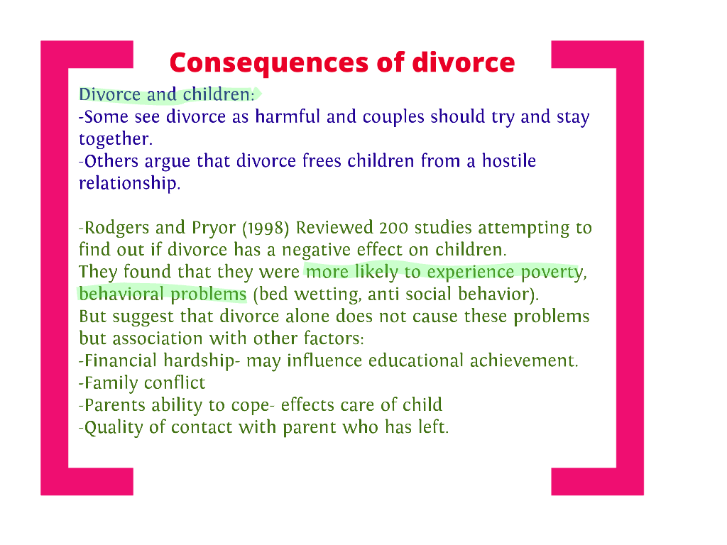 sociological view of divorce family Effects of divorce on children and families each person goes through their own individual experiences and.